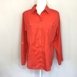 Chico's Orange Button Down Shirt Women's Size 8